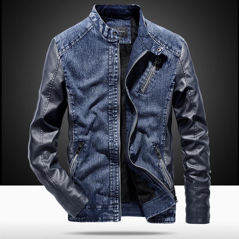 MYAZHOU 2019 hiver veste pour hommes, mode en cuir PU Denim Patchwork veste, Durable Plus velours chaud hommes veste en cuir
