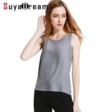 SuyaDream Camiseta sin mangas para mujer, 100% de crepé de seda, cuello redondo, color sólido, gris, Negro, Rosa, vino, verano 2020