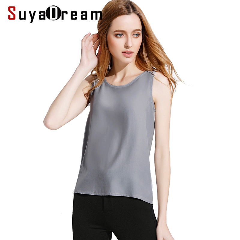 Women silk   tank     tops   100% Natural silk shirt Sleeveless Chiffon   Tanks   Solid basic   top   shirt 2019 Summer Gray Black Pink Wine