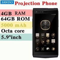 VM3 Smartphone 4GB 64GB Octa Core Projection phone Mini family projector 5000 mAh 5.9INCH