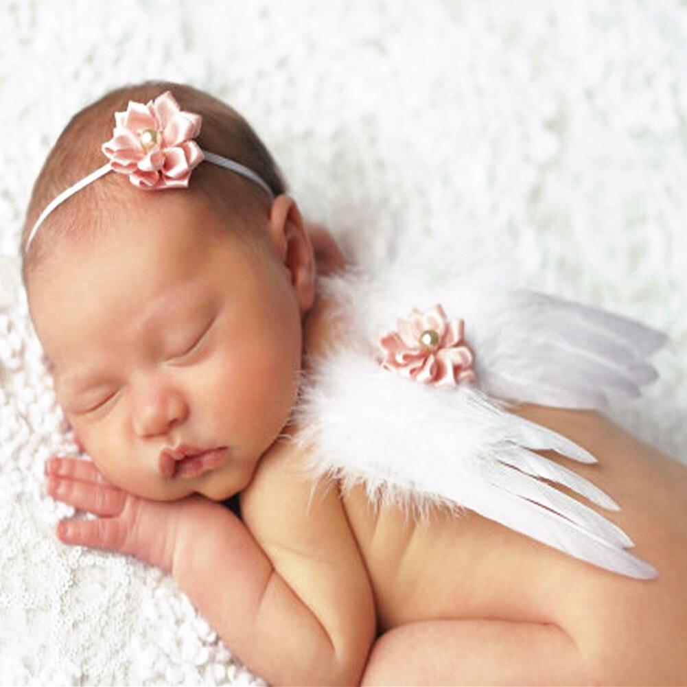 0 Zu 6 Monate Baby Fotografie Requisiten Neugeborenen Babys Mädchen Engel Feder Flügel Gesetzt Neugeborenen Stirnband Fotografie Requisiten Um Der Bequemlichkeit Des Volkes Zu Entsprechen