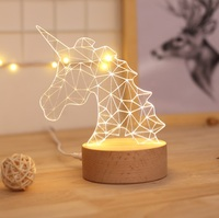 Unicorn 3D Atmosphere Decorative Luminous Lamp With USB , And Holiday Gifts Night Light