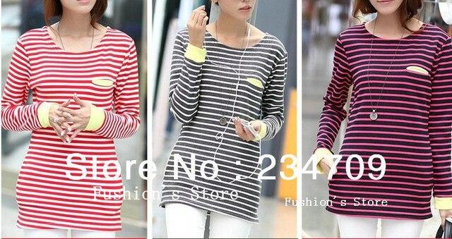 2013 autumn winter han edition O-neck striped Package hip/bag stick skin thickening warm t shirt women ,1 pcs/lot