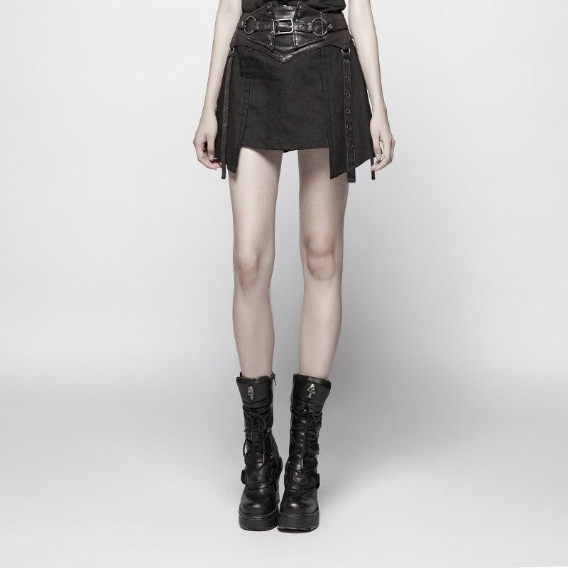 PUNK RAVE femmes Punk ceinture demi-jupe a-ligne robe Heavy Metal mode filles coton jupe gothique fête jupe