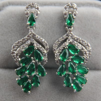 G Shape Emerald Green Aaa Cubic Zirconia Drop Earrings For Women White Gold Plated Vintage Wedding