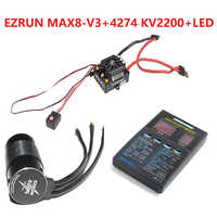 Hobbywing EzRun Max8 v3 T / TRX Plug Waterproof Brushless ESC + 4274 2200KV Motor +LED Programming for 1/8 RC Car Truck