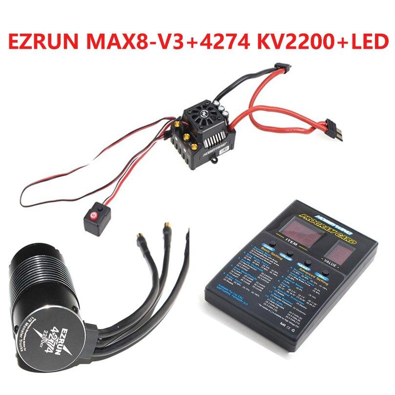 Hobbywing EzRun Max8 v3 T/TRX штекер Водонепроницаемый бесщеточный ESC + 4274 2200KV двигатель + светодио дный программирования для 1/8 RC автомобилей Грузовик