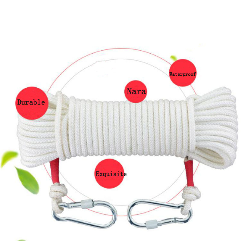 10M Fire Safety Rope Self-rescue Downhill Household Escape Rope Climbing Insurance Safety Rope Wire Core Fire Double Hook DFS045