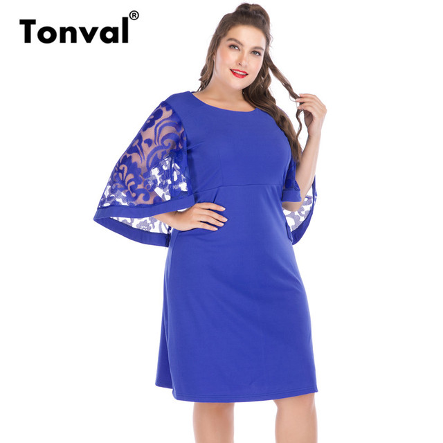 13c93aab9b0c3 Tonval Big Size Elegant Work Blue Summer Dress Office Women 5XL 6XL See  Through Flare Sleeve Casual Dresses-in Dresses from Women's Clothing & ...