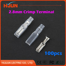 100pcs/lot 2.8mm Crimp Terminal Splice Female Spade Connector Splice With Case