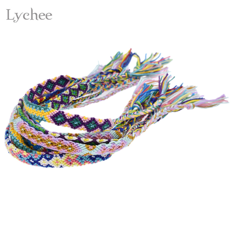 Lychee 10pcs/Lot Bohemia Style Handmade Rope String Braid Bracelet Embroidery Friendship Bracelet Wristband Jewelry for Women