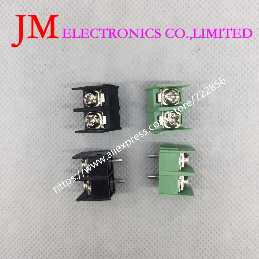20PCS/LOT KF7.62-2P 7.62mm pitch pcb screw block Splice connector terminal KF7.62 2Pin Green and black ROHS Can be connected 5pcs 300v 25a 4 pin 10mm spacing single row pcb board black screw terminal barrier block connector