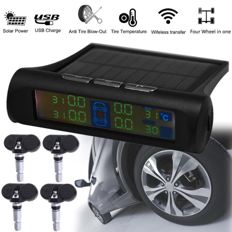 Car font b TPMS b font Tire Pressure Monitoring Smart System Cigarette Lighter Digital LCD Display