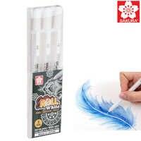 Sakura gelly rolo clássico arte marcador gel tinta canetas cores brancas mangá comic japão 3 peças fino médio bold 05/08/10 desenho caneta