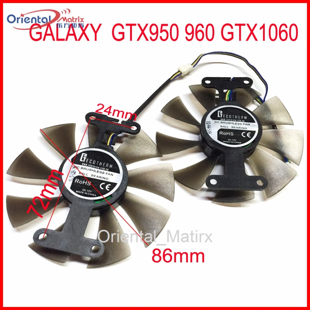 Free Shipping 2pcs/Lot 86mm VGA Fan 4Pin For GALAXY GTX950 960 GTX1060 Graphics Card Cooler Cooling Fan free shipping diameter 75mm computer vga cooler video card fan for his r7 260x hd5870 5850 graphics card cooling