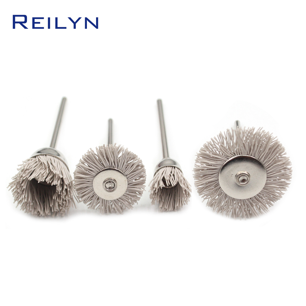 4 Pcs Dunpont Fiber Brush Nylon Polishing Disc Dunpont Mop Wheel Polishing Roller Shank 3mm For Electric Grinder Wood Polishing