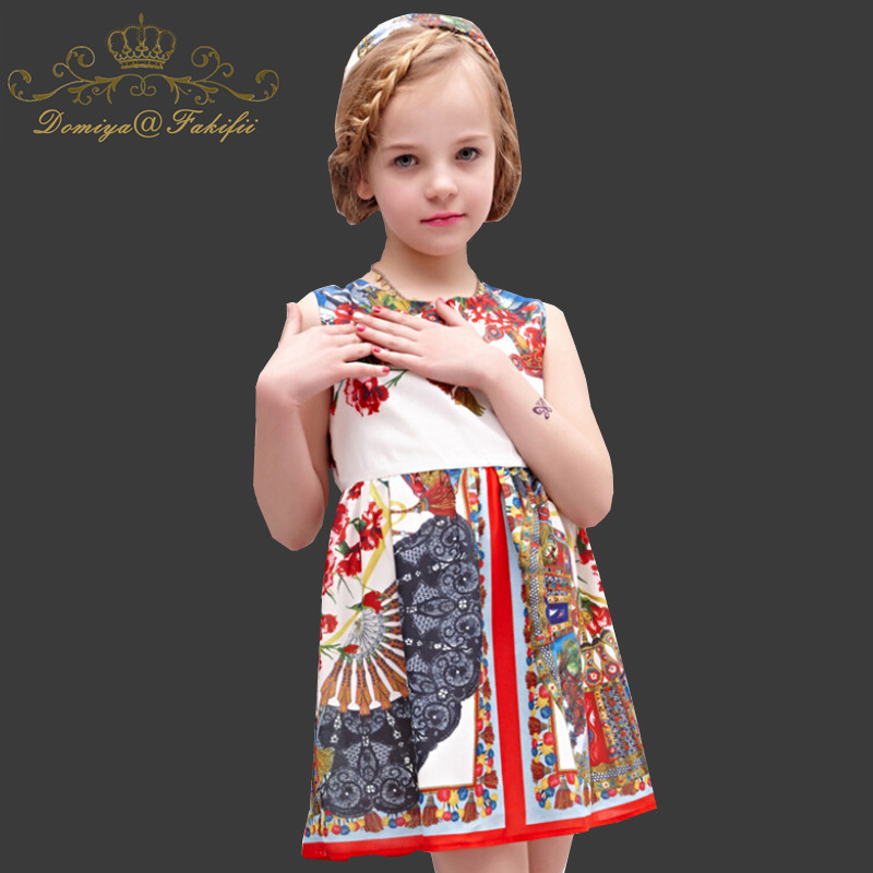 Little Girl Dresses Children Clothing Fan Print Baby Girls Summer Dress Costume for Kids Clothes A-line Vestido Princess Dress цены