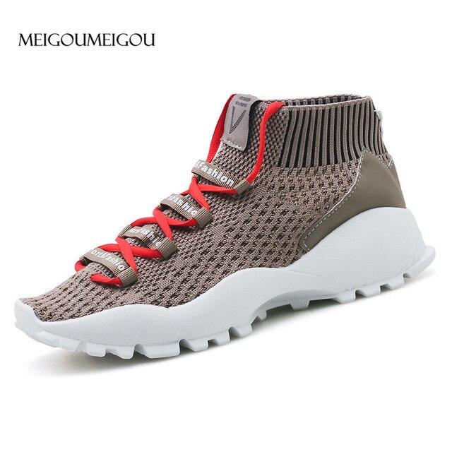 MEIGOUMEIGOU 2018 New Design Men Casual Shoes Fashion Style Mesh Breathable Sock Sneakers Men Durable & Light Flat Shoes