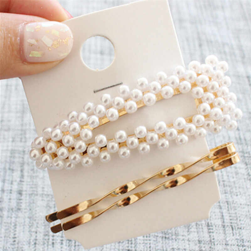 3Pcs/Set Fashion Women Pearl Metal Hair Clip Hairband Comb Bobby Hairpin Jewelry Styling Tools Barrette Hair Accessories