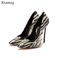 Rxemzg women's high heels shoes PU leather plus size 33 43 sexy woman shoes black white pointed toe wedding party pumps stiletto