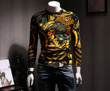 Men's sweater cotton modal eagle personalized printing slim youth leisure sweater autumn new fashion WD099