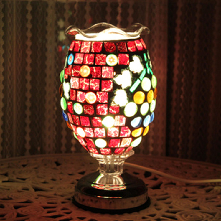 цена light complex antique mosaic table lamp burner plug lamp oil wedding light DF86