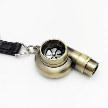 Dewtreetali Real Whistle Sound Turbo Keychain Sleeve Bearing Spinning Auto Part  Turbine Turbocharger Key Chain Ring