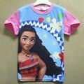 2017 Verano Patrón de Caracteres Camisetas Moana Infant Toddler Niños Ropa Niñas Tee Tops Ropa Niños Bebé de la Historieta Camisetas