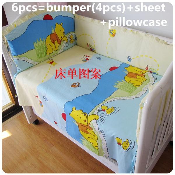 Promotion! 6PCS Bear Baby Bedding Sets Crib Cot Bassinette Bumper (bumper+sheet+pillow cover) promotion 6pcs baby bedding set cot crib bedding set baby bed baby cot sets include 4bumpers sheet pillow