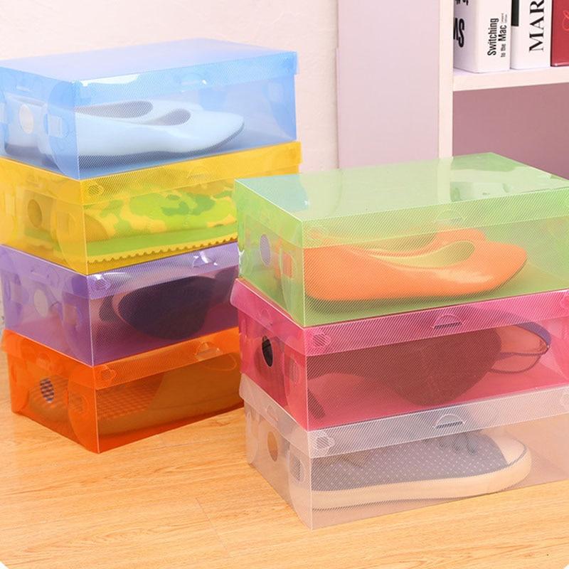1pcs Plastic Shoe Box Transparent Clear Storage Boxes Foldable Shoes Case Holder Shoes Organizer Cases Boxes