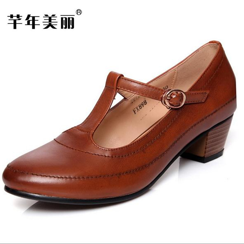 New retro brown, black Genuine Leather high heels Large size 41-43 Women Shoes Crude heel Work shoes Mary Jane shoes pumps spring autumn national style crude heel high heels genuine leather large size women shoes anti skid elderly shoes pumps obuv