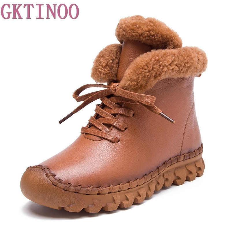 Winter Female Plus Velvet Genuine Leather Shoes Snow Platform Boots Women Thermal Cotton padded Shoes Flat Ankle Boots