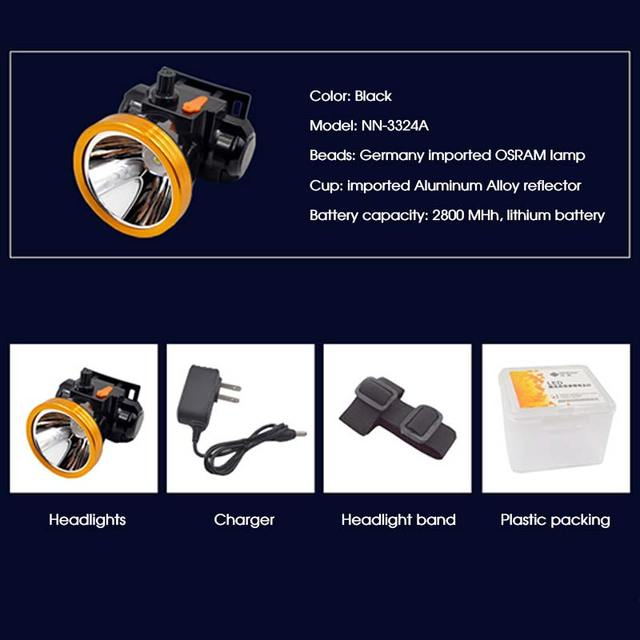 TRANSCTEGO Headlamp Rechargeable Hunting Fshing 18650 Battery Strong Headlight Long Distance Power Led Head torch Adjustable