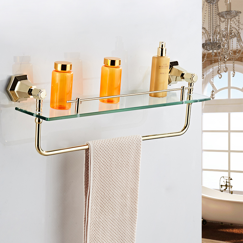 Bathroom shelves Solid Brass Golden Finish With Tempered Glass Bathroom Accessories Bathroom Shelf Wall mounted Shelves 93013 1pcs adjustable brush finish metal shelf holder support clamp for bathroom wall glass shelves panel