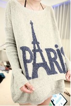 Fashionable Paris Eiffel Tower Print Rabbit Fur Sweater Woman Loose Batwing Sleeve Plus Size Sweaters Female Clothing