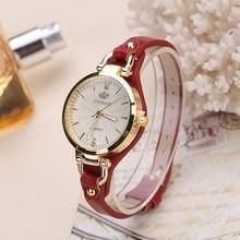 Fashion Brand Casual Quartz Watches Women Rivet Thin Leather Strap Wrist Ladies Gold Case Watch relogio Ceasuri