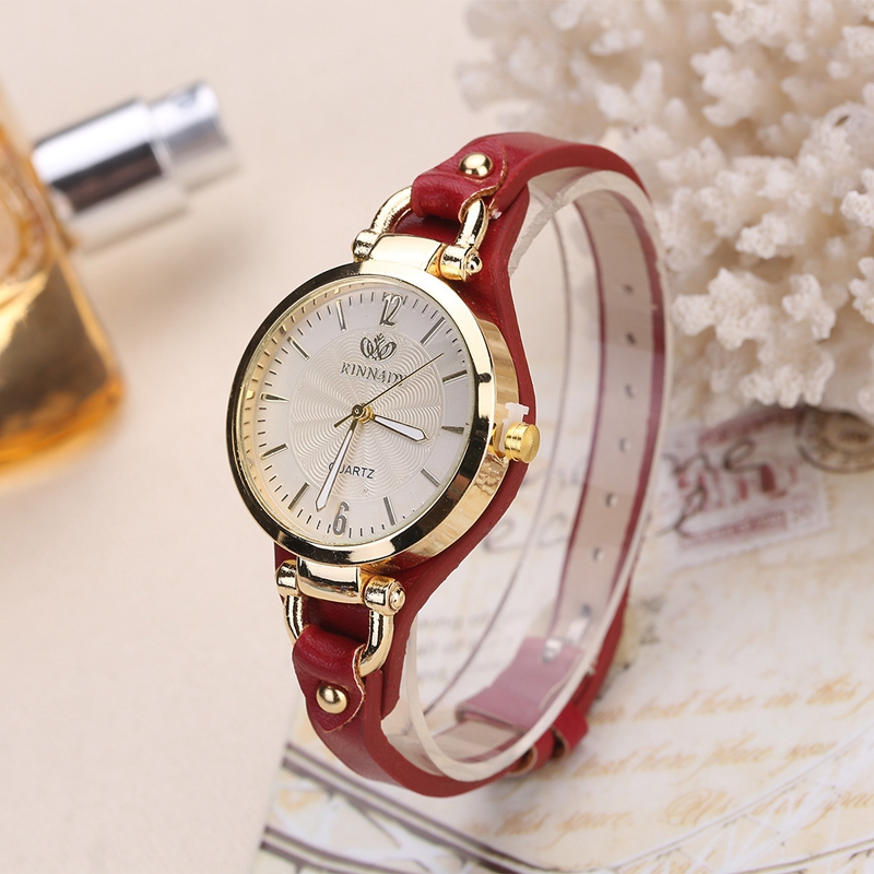 Rinnady fashion casual quartz watches for women thin leather strap wrist watches ladies gold for Casual watches