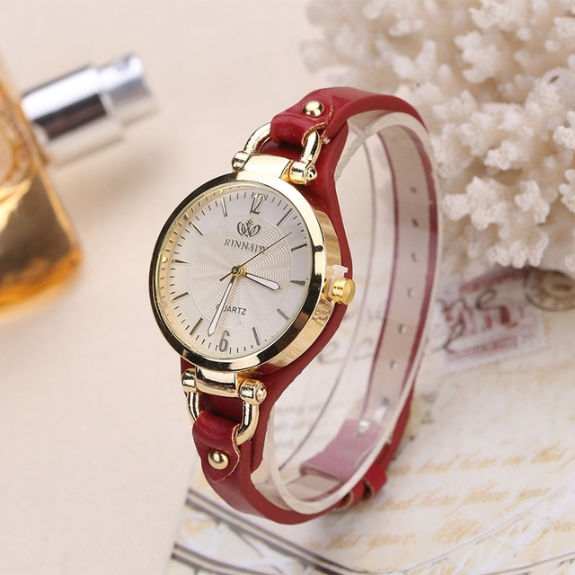 Rinnady Fashion Casual Quartz Watches For Women Thin Leather Strap Wrist Watches