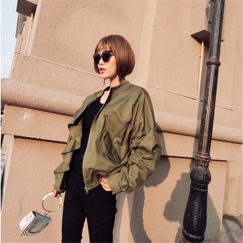 Green Streetwear Army Primavera Cremallera Plisada Informal Verde Ejército 2018 Chaqueta La Bombardero Colmena De Bolsillo Fresca UBnHqZ0Aw