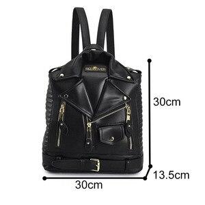 Image 5 - 有名なブランドの女性のバックパック革ブラックバックパックスクールバッグ十代の少女旅行バックパック女性のスーツの肩バッグ