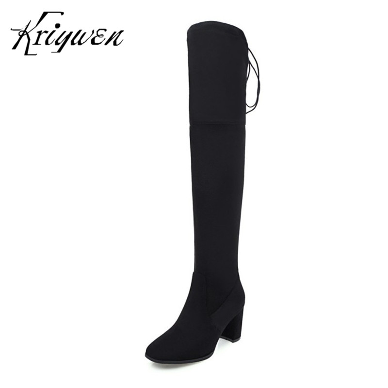 Kriywen 2018 Winter Brand Fashion Womens Boots Over The Knee Boots Sexy Ladies High Heels Thigh Woman Long Shoes Zapatos Mujer
