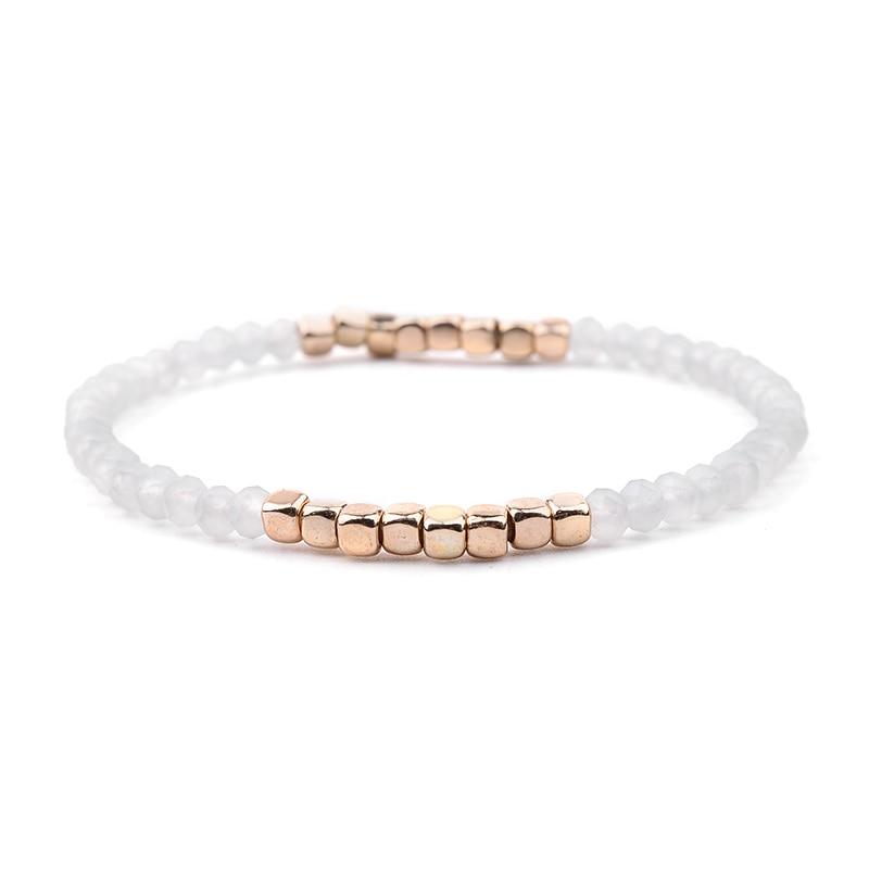 BOJIU многоцветные Кристальные браслеты для женщин золотые акриловые медные бусины розовый белый черный серый женский браслет с кристаллами BC226 - Окраска металла: 22-Gray White Gold