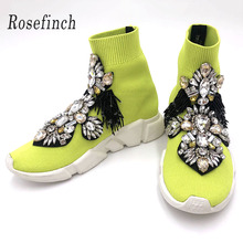 Yellow Shoes Woman Sneakers Rhinestone Sock with Crystals Fashion Women Flats WK94