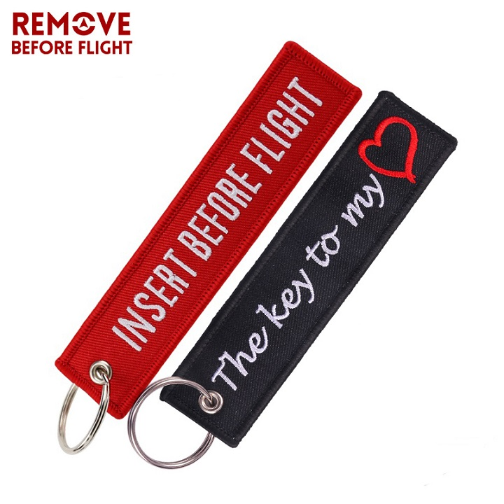 Remove Before Flight Embroidered Red Tag Key chain for Motorcycle Bike Scooters Racing Biker Key Ring Accessory