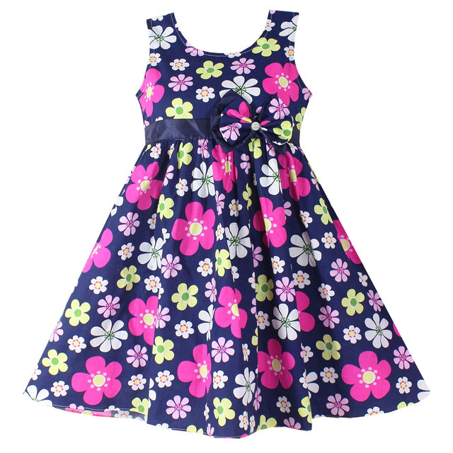 e371898f09e2a US $5.6 49% OFF|Shybobbi New Girls Dresses Fashion Dark Blue Floral Party  Birthday Baby Children Clothing 100% Cotton-in Dresses from Mother & Kids  on ...