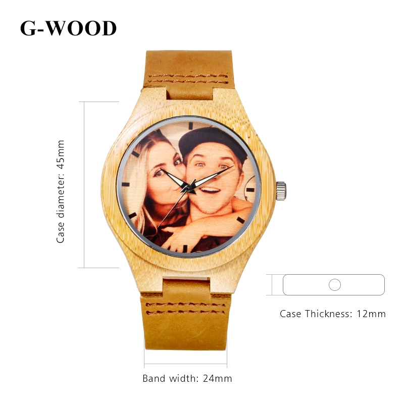 G-WOOD Custom Photo Couple's Wooden Watches 2018 Unisex Wood Bracelet - Балалардың сағаттары - фото 5