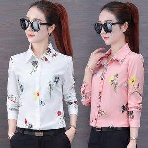 Image 4 - Naviu nouvelle mode fleur impression Blouse femmes 2019 printemps à manches longues bureau blouse grande taille hauts vêtements formels