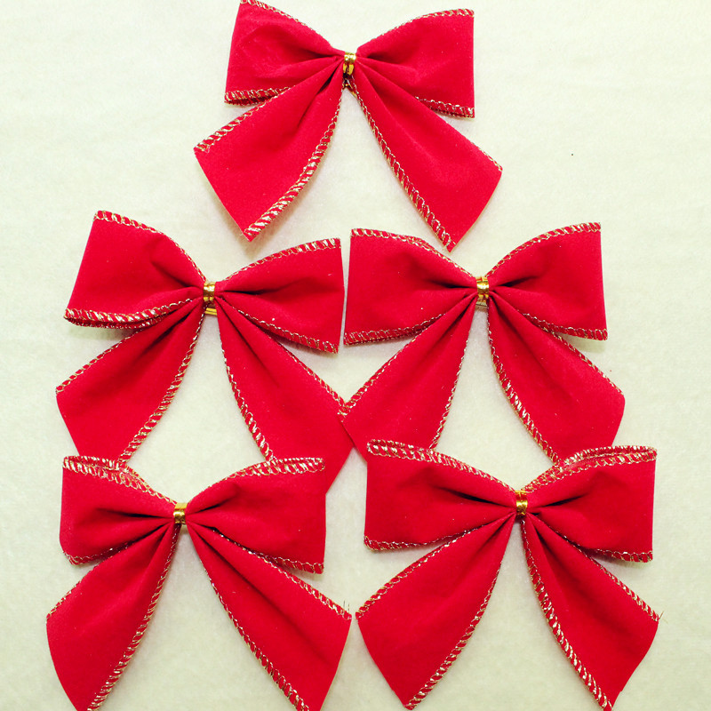New Red Flock Christmas Bow Tree Ornaments Decoration In Bows From Home Garden On Aliexpress