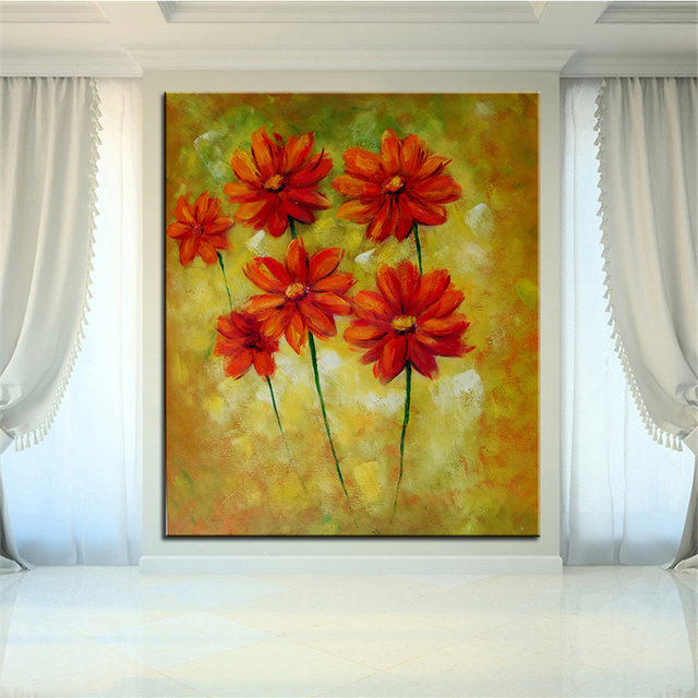 Wall Art, Wall Decor, Wall flower Painting Red and yellow background ...