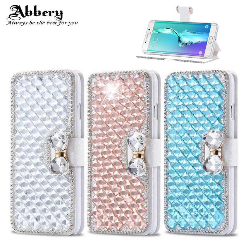 Bling Bowknot Crystal Diamond Case For Samsung S3 S4 S5 S6 S7edge S8plus S9 Note 3 Note 5 Leather Flip Cover for Samsung Note 8